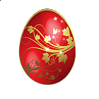 Large Red Easter Egg With Gold Flowers Ornaments
