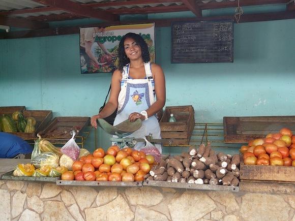 une marchande de fruits et légumes très souriante