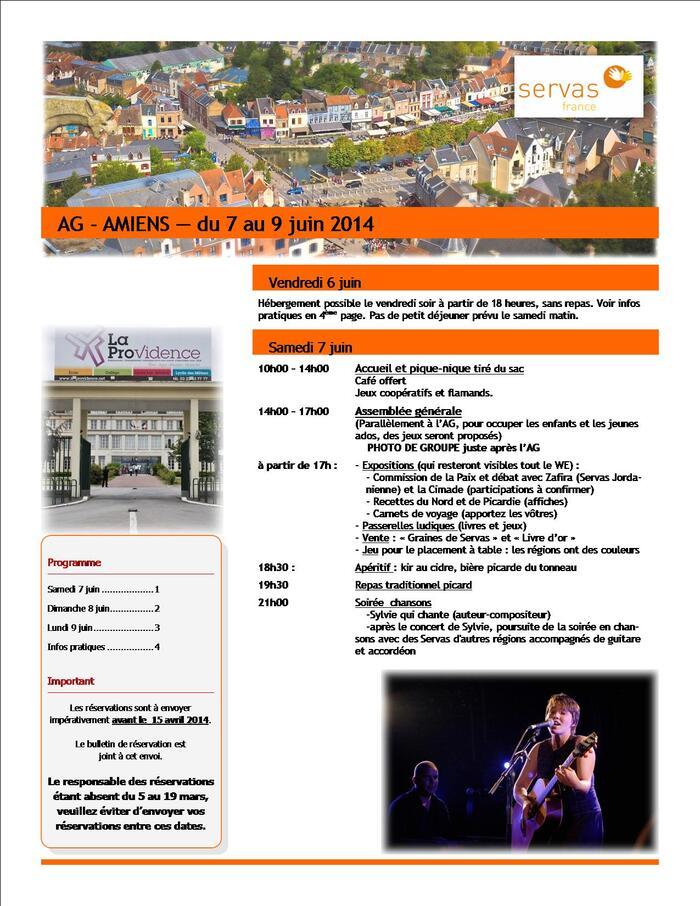 : Du 7 au 9 juin A.G Servas à Amiens.