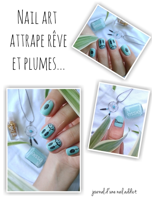 nail art attrape rêve dreamcatcher plumes