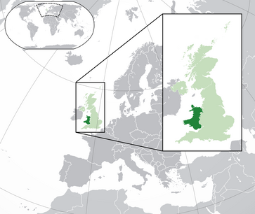Localisation du pays de Galles en Europe