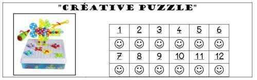 """Jeu """"Créative Puzzle"""" - fiche de suivi"""
