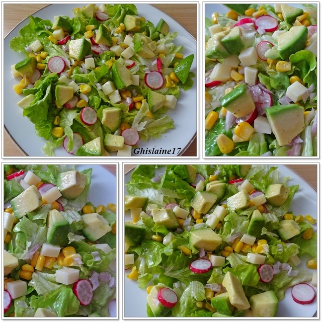 Salade d'avocat, radis, maïs, comté, échalote