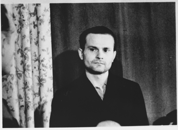 Paul Sakowki pendant le procès du camp de Sachsenhausen, Berlin, octobre-novembre 1947