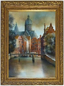 Canal a Amsterdam By Chapaud 41x48 Framed Sm[3]