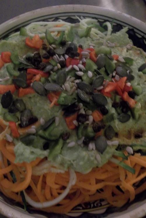 Tagliatelles de légumes sauce guacamole