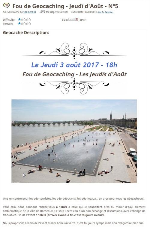 3 août 2017 - Fou de Geocaching - Jeudï d'Août - N°5