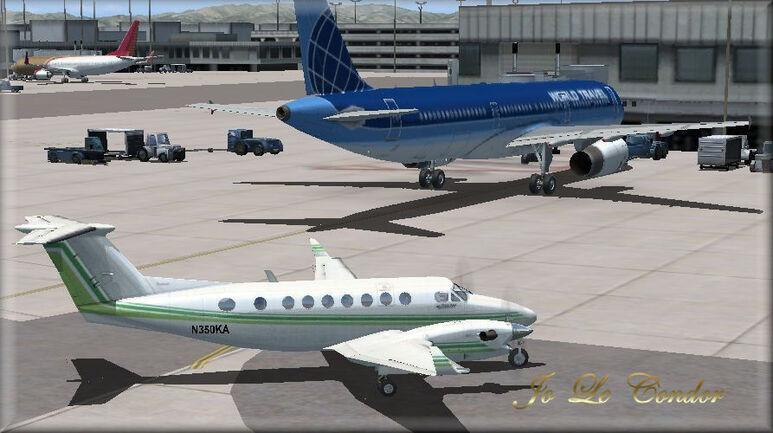 Mon arrivée en King Air à Los Angeles......En 3d