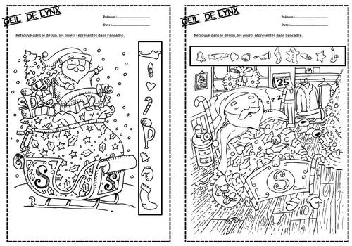 Oeil de lynx spécial noël, discrimination visuelle, GS, C, Cycle 2,