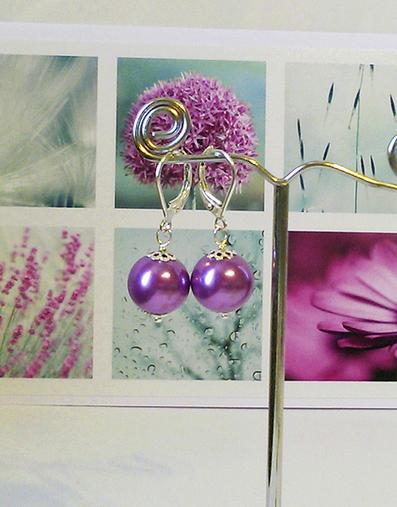 Boucles Dormeuses - Perles de verre nacré renaissance mauves 10mm / plaqué argent
