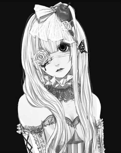 Image de anime, anime girl, and black and white