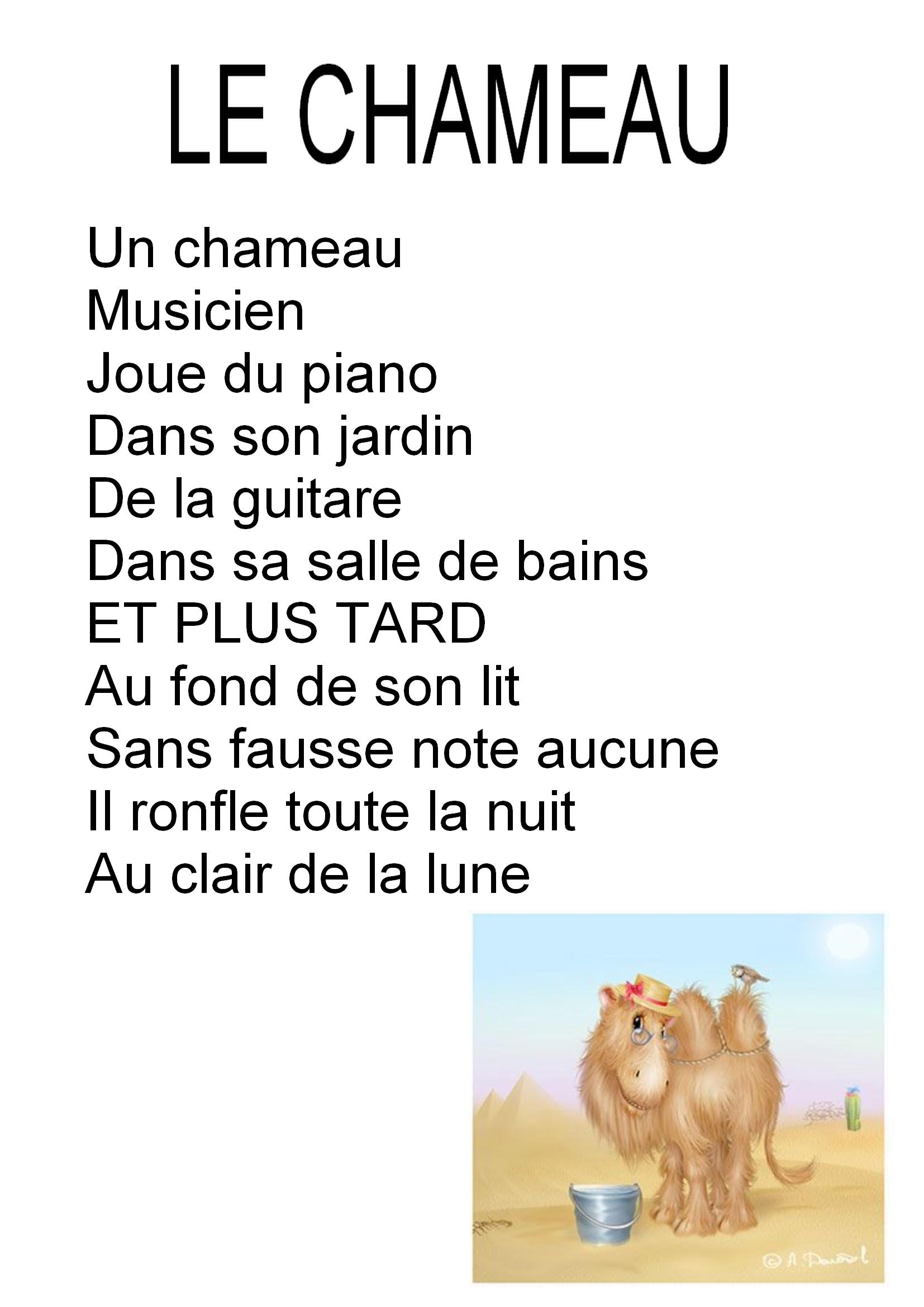 ptines et chanson de chameaux Maitresse Myriam