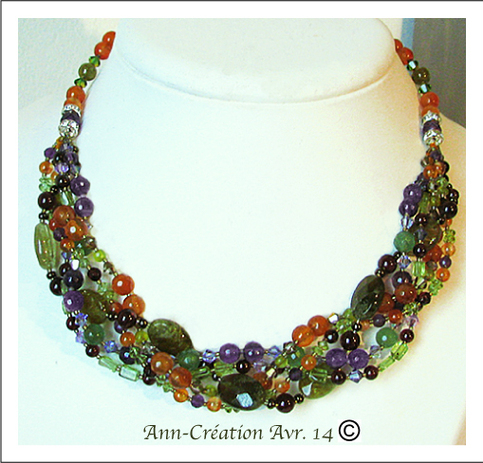 Collier tressé Pierres Multicolores  / Argent 925 - Multicoloured gemstones necklace