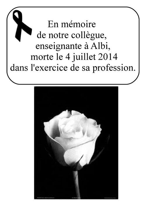 Affiche en mémoire de l'enseignante d'Albi