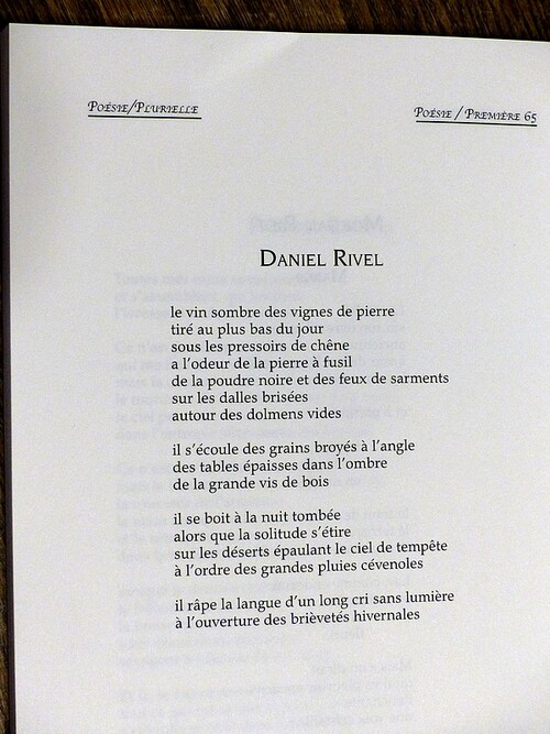 Revue Poésie/première. octobre 2016