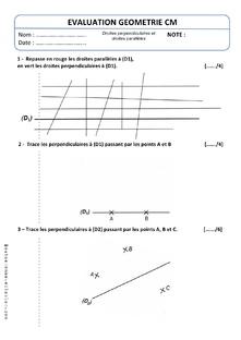 Evaluation Geometrie Droite Perpendiculaires et Droites Parallèles