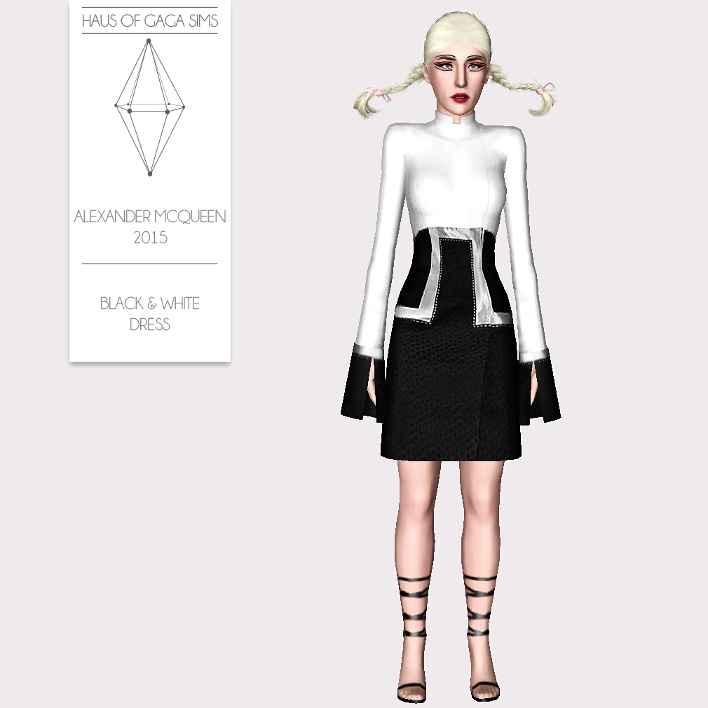 ALEXANDER MCQUEEN 2015 BLACK & WHITE DRESS