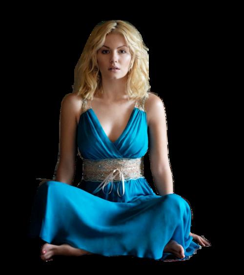 Femme vétue de bleu