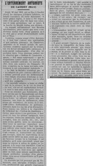 Enterrement antoiniste à Caudry (Le Fraterniste, 6 juin 1912)