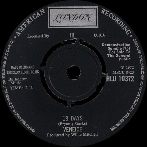 Veniece : 18 Days London Records HLU 10375 [ UK ]