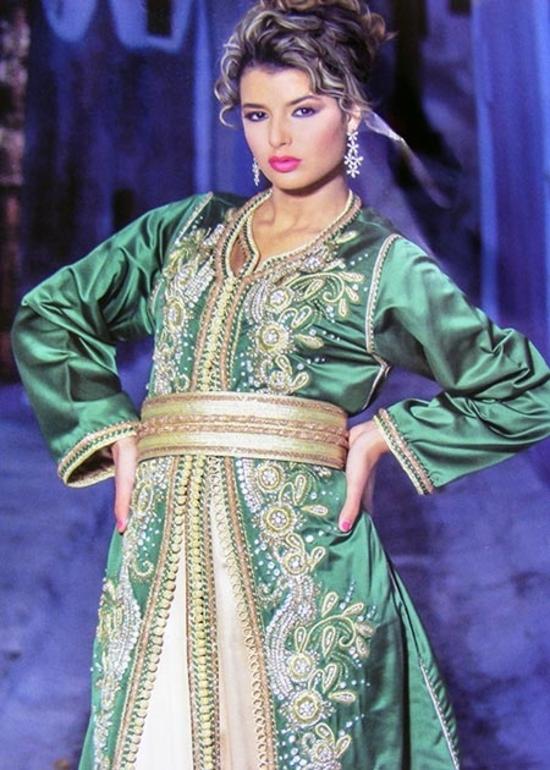 Takchita-marocaine-2015-vert-et-doré en ligne d'une collection haute couture pour cérémonie du henné TAK-S888