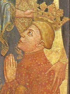 Ferdinand Ier couronné par Jésus (retable de l'archevêque de Tolède Sancho de Rojas, église Saint-Benoît el Real, Valladolid, 1410-1415)
