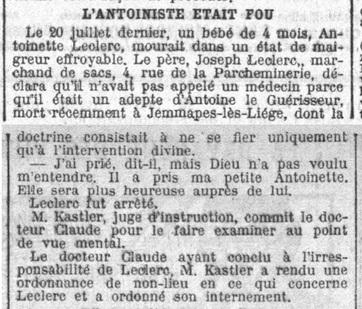 L'Antoiniste Leclercq était fou (La Croix, 21 août 1912)