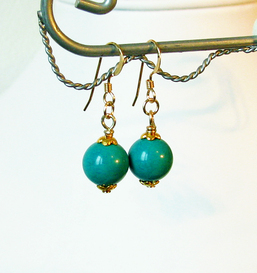 Boucles d'Oreilles  Turquoise Naturelle de Chine Version 2 / Plaqué Or Gold Filled
