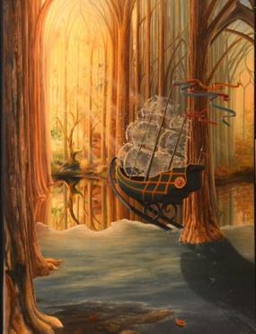 marais de la rivière aux cerises à Magog - peinture de Manon Poitevin
