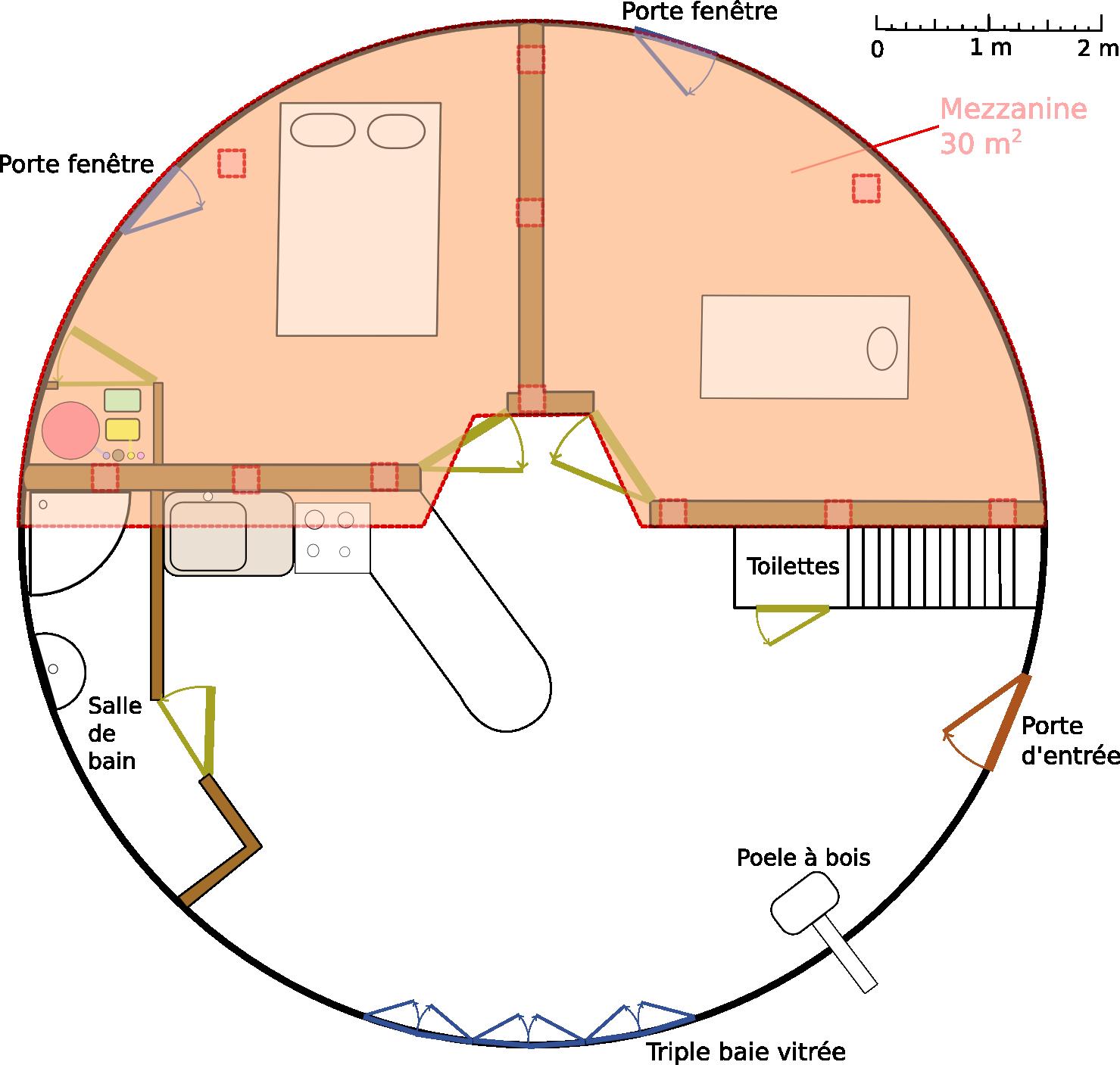 Salle De Bain Petit Espace Couloir ~ Le Plan De Notre Yourte L Escargot Tranquille