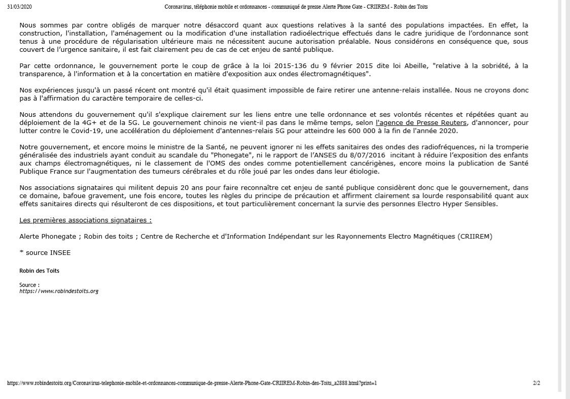 Communiqué de presse de Robin des Toits suite à la parution des ordonnances sur la téléphonie mobile