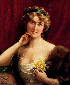 Emile Vernon, An Elegant Lady With A Yellow Rose