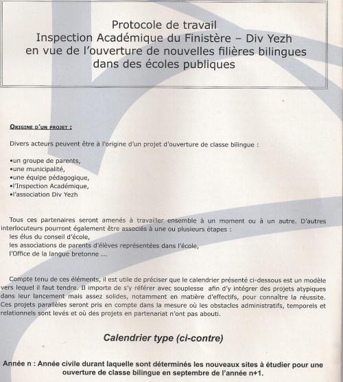 Protocole de travail en vue de l'ouverture d'une classe bilingue