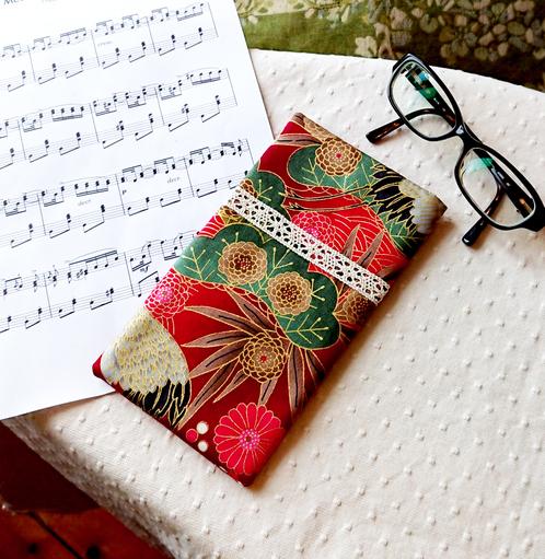 Etui molletonné pour téléphone, lunettes, maquillage, tissu japonais et Moda coton imprimé floral rouge