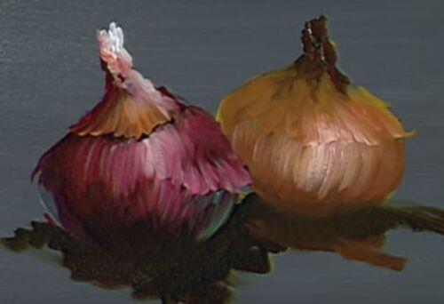 Dessin et peinture - vidéo 1647 : Nature morte aux oignons - huile sur toile.