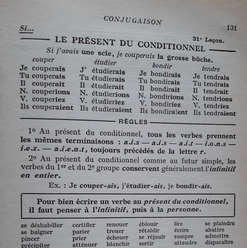 F / Le conditionnel présent