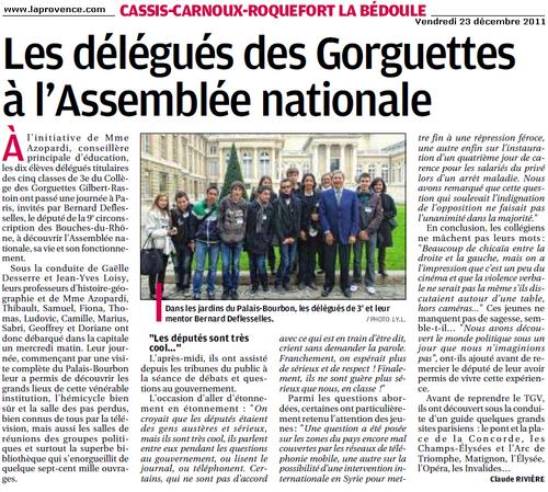 Cassis : Les délégués des classes de 3e en visite à l'Assemblée nationale