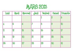 Calendriers Mars et Avril 2013