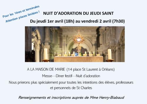 Nuit d'adoration Jeudi Saint