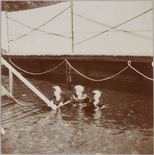 Grand Duchesses Olga and Tatiana swimming with Anna Vyrubova in the Crimea: 1908.
