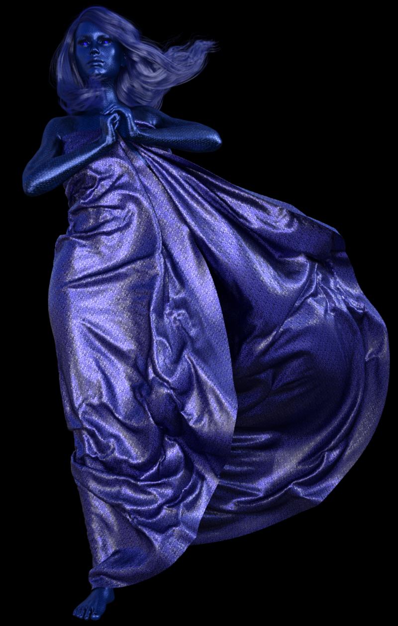 Image de statue femme bleue (tube-render)