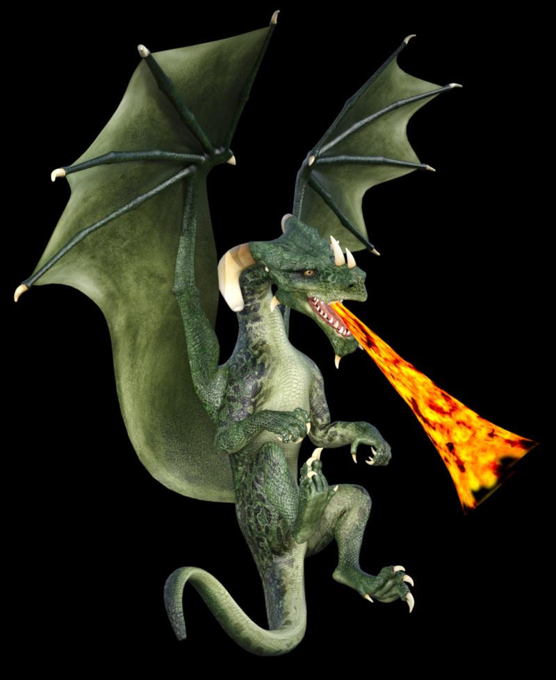 Image de dragon vert crachant du feu