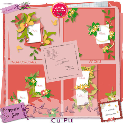Template pack 8 d'Idapassion format psd,png, scalb