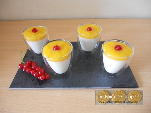 Panna Cotta lait de coco et purée de mangue