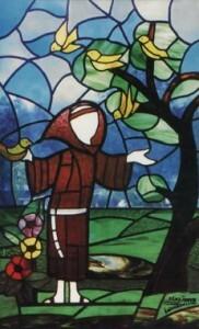 Vitrail, saint François d'Assise prêchant aux oiseaux.