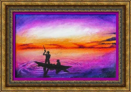 Dessi et peinture - vidéo 2516 : Un magnifique coucher de soleil - le pastel gras, étape par étape.