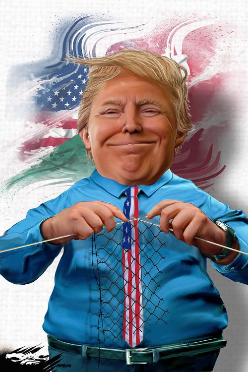 dessin de JERC et texte d'AKAKU du vendredi 11 janvier 2019 caricature Donald Trump Avec le Mexique c'est une histoire d'A-mur www.facebook.com/jercdessin