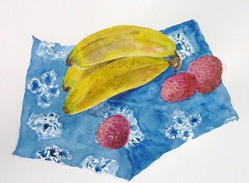 bananes et litchees sur batik