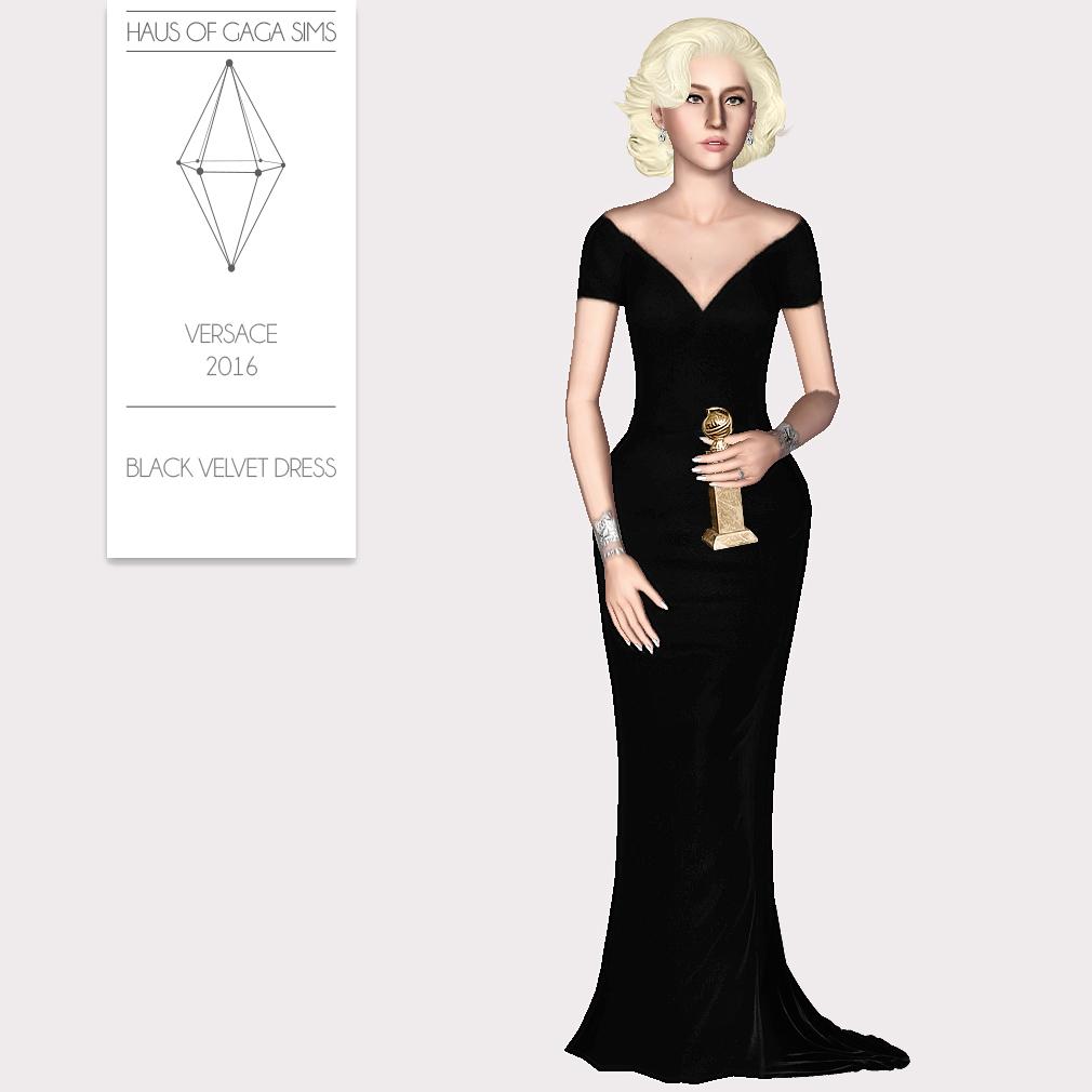 VERSACE 2016 BLACK VELVET DRESS