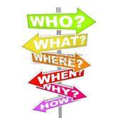 Plusieurs panneaux flèche coloré avec les questions fréquentes - qui, quoi, où, quand, pourquoi, comment  Banque d'images - 8088176